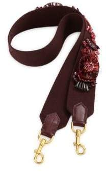 Anya Hindmarch Floral-Embroidered Leather Guitar Shoulder Strap