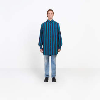 Balenciaga Striped chambray shirt with jersey yoke at back