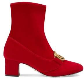 Gucci Velvet Mid-Heel Double G Ankle Boots