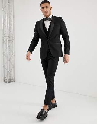 French Connection Slim Fit Peak Satin Lapel Tuxedo Pants