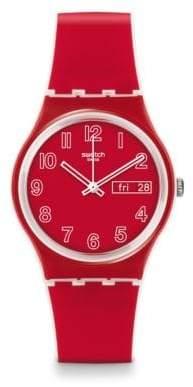 Swatch Poppy Field Silicone Strap Watch