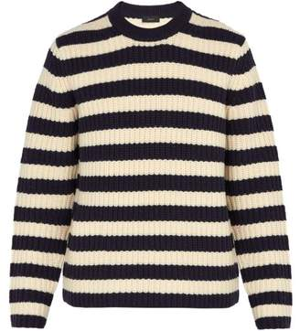 Joseph - Striped Chunky Knit Wool Sweater - Mens - Navy Multi