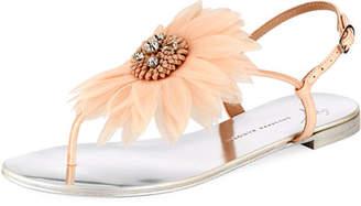 Giuseppe Zanotti Flat Thong Sandal with Jeweled Flower
