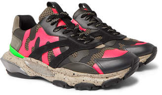 Valentino Garavani Bounce Camouflage-Print Leather, Mesh and Suede Sneakers - Men - Pink