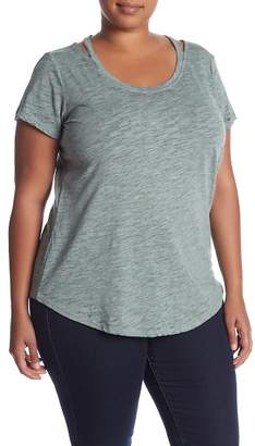Planet Gold Cutout Neck Burnout Tee (Plus Size)