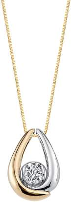 Collection 18 Sirena Collection 1/8 Carat T.W. Certified Diamond Two Tone 10k Gold Teardrop Pendant Necklace
