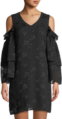 Cynthia Steffe Cece By Jacquard Cold-Shoulder Shift Dress