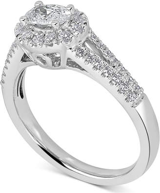 Macy's Diamond East West Oval Engagement Ring (3/4 ct. t.w.) in 14k White Gold