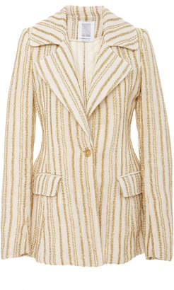 Rosie Assoulin Blaze Your Saddles Striped Cotton-Blend Blazer