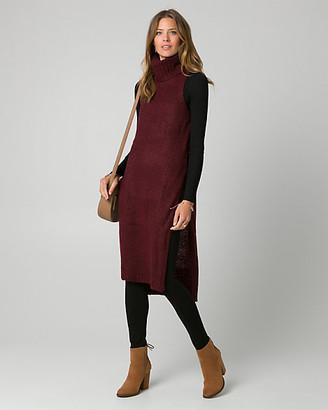 Le Château Knit Mock Neck Slit Sweater Vest