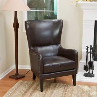 Noble House Pico Brown Bonded Leather Studded Club Chair