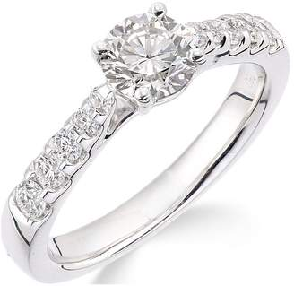 Love GOLD 18ct White Gold Channel Set 70 Point Diamond Ring With Diamond Set Shoulders