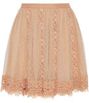 RED Valentino Lace-Paneled Point D'esprit Mini Skirt
