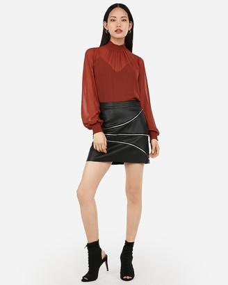 Express Vegan Leather Asymmetrical Zipper Mini Skirt