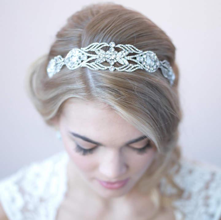 Etsy Vintage Bridal Headband, Art Deco Wedding Headband, Rhinestone Headband, Antique Silver Headband, Br