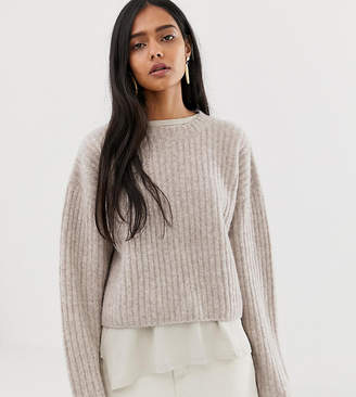 Weekday ribbed knitted jumper in beige
