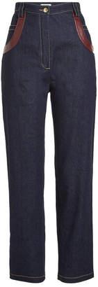 Nina Ricci High-Waist Jeans with Leather