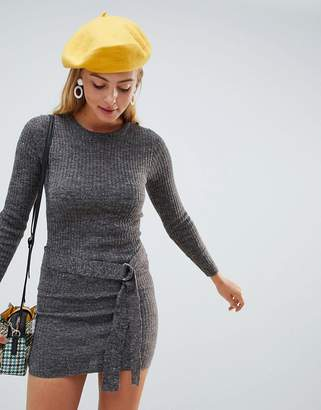Brave Soul Tied Rib Sweater Dress with D Ring Belt