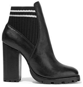 Schutz Ilenne Striped Rib-paneled Leather Ankle Boots