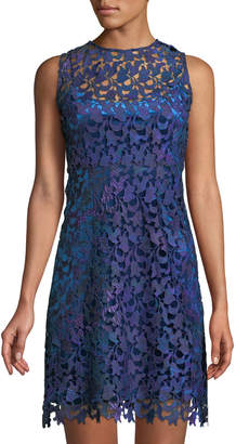 T Tahari Scalloped Lace Illusion Dress