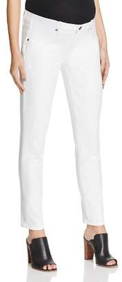 Paige Skyline Skinny Ankle Maternity Jeans in Optic White