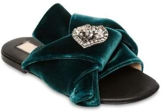N°21 Embellished Bow Velvet Slide Sandals