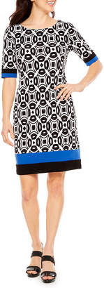 R & K Originals Elbow Sleeve Geometric Sheath Dress
