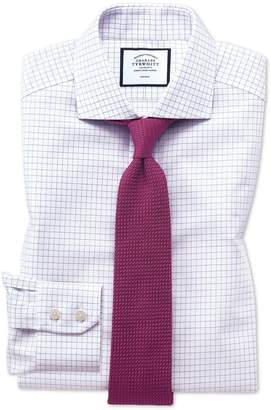 Charles Tyrwhitt Extra Slim Fit Non-Iron Spread Collar Lilac Fine Check Cotton Dress Shirt Single Cuff Size 14.5/32