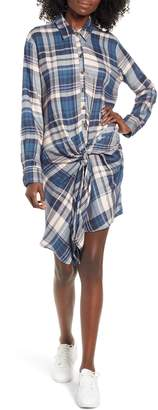 Socialite Plaid Tie Waist Shirtdress
