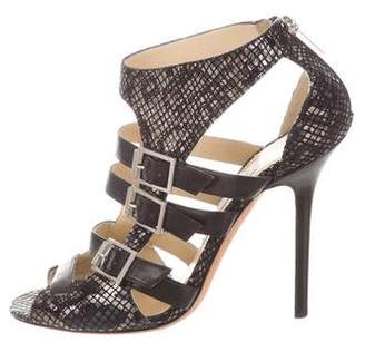 Jimmy Choo Embossed Buckle-Accented Sandals