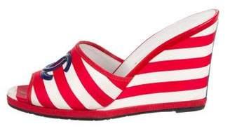 Chanel CC Stripe Wedge Sandals