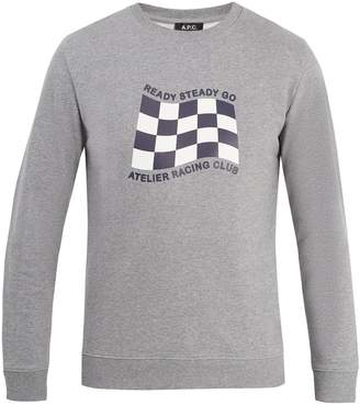 A.P.C. Racing flag-print cotton-jersey sweatshirt