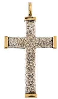 Konstantino Two-Tone Hammered Cross Pendant