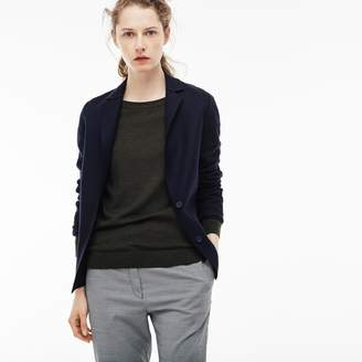 Lacoste Women's Buttoned Overstitched Wool Jacket