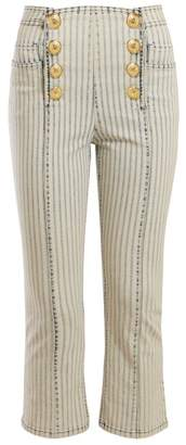 Balmain Striped Kickflare Jeans - Womens - Blue White