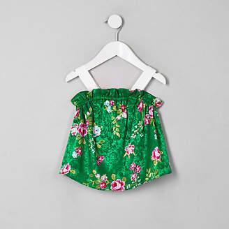 River Island Mini girls Green floral cami top
