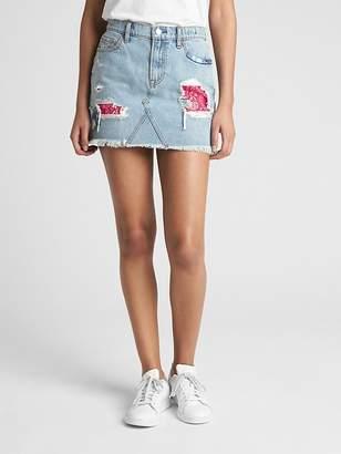 Gap Denim Mini Skirt in Rip and Repair