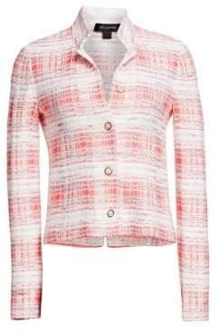 St. John Women's Becca Knit Jacket - Coral White Multi - Size 2