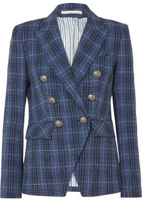 Veronica Beard Miller Dickey Checked Wool-blend Blazer - Blue