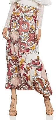 BCBGMAXAZRIA Paisley Print Maxi Wrap Skirt