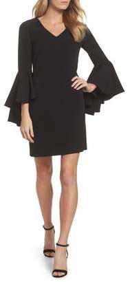 Eliza J Bell Sleeve Crepe Shift Dress