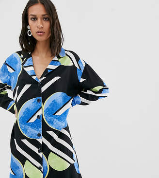 NATIVE YOUTH exclusive shirt dress in abstract polka dot