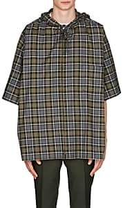 Balenciaga Men's Plaid Cotton Flannel Hooded Shirt-Gray