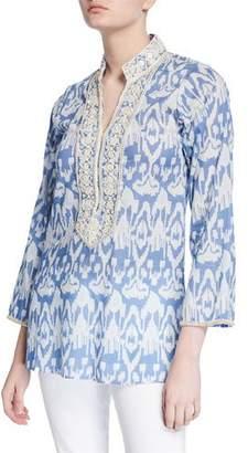 Bella Tu Ikat 29 Embellished V-Neck Tunic with Mandarin Collar