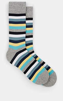 Corgi Men's Striped Stretch-Cotton Mid-Calf Socks - Gray