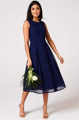 Paper Dolls Rock n Roll Bride Isla Navy Midi Skater Dress
