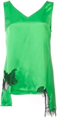 Helmut Lang lace insert v-neck blouse