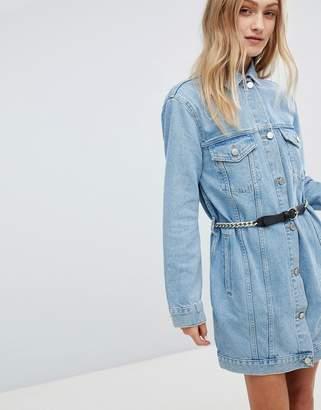 Asos DESIGN denim longline jacket in midwash blue with belt