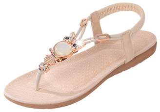 18479186a8a Bohemia Fashion Brand Best Show Women s Summer Style Elastic T-Strap Beaded  Owl Flat Sandals