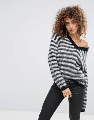 Replay Stripey Mohair Knit Sweater